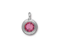 TierraCast Rhodium (plated) Stepped Bezel Charm w/ Rose Crystal 12x17mm