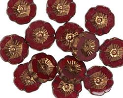 Czech Glass Bronzed Garnet Hibiscus Coin 12mm