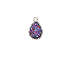 Metallic Solar Crystal Druzy Teardrop Charm in Silver Finish Bezel 9x14mm