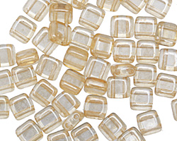 CzechMates Glass Luster Transparent Champagne 2-Hole Tile 6mm
