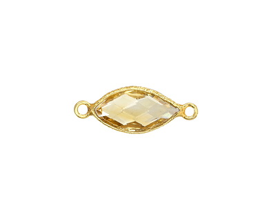 Citrine Faceted Horse Eye Link in Gold Vermeil 20x7-8mm