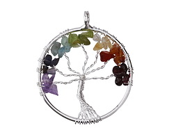 Chakra (Multi Stone) Silver Finish Wire-Wrapped Tree of Life Pendant 36mm