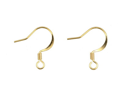 Gold (plated) Flat Earwire w/ Coil 10x17mm