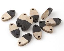 Wood & Jet Resin Oval Focal Link 17x8.5mm