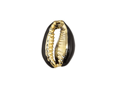 Jet Enamel on Gold Finish Cowrie Shell 14-17x19-25mm