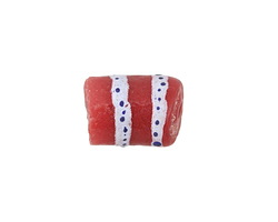 African Hand-Painted in Cobalt & White on Red Powder Glass (Krobo) Bead 14-17x11-12mm
