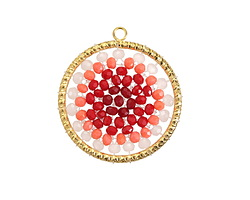 Rose Ombré Crystal Hand Woven Gold (plated) Stainless Steel Focal 30x33mm