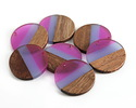 Walnut Wood & Plumeria Resin Banded Coin Focal 28mm