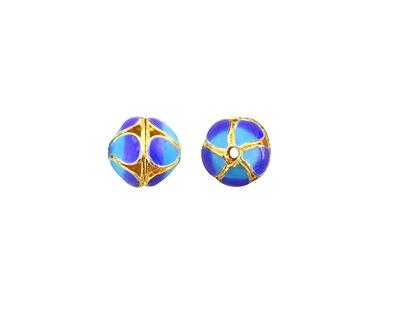 Cloisonné Blue & Aqua w/ Gold Finish Openwork Petal Round Bead 8mm