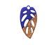 Walnut Wood & Indigo Resin Openwork Leaf Focal 15x28mm