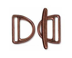 TierraCast Antique Copper (plated) 20mm Slotted D Ring Clasp Set 19x24mm, 34mm bar