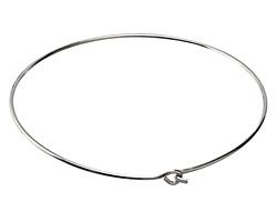 Silver (plated) Simple Neck Collar w/ Flat Hook & Eye Closure 12 gauge