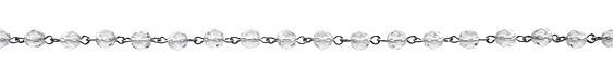 Czech Fire Polished Crystal Faceted Round Silver (plated) Bead Chain