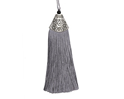 Pewter Thread Tassel w/ Antique Silver (plated) Broad Tassel Cap 20x75mm