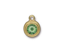TierraCast Gold (plated) Stepped Bezel Drop w/ Peridot Crystal 12x17mm