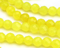 Neon Yellow Colorful Jade Faceted Round 6mm