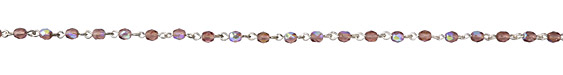Czech Fire Polished 4mm Amethyst AB Faceted Round Silver (plated) Bead Chain