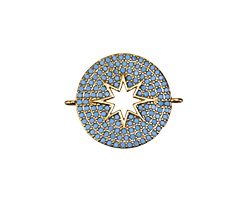 Turquoise Pave CZ Gold (plated) Sunburst Coin Focal Link 26x20mm