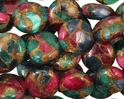 Jewel Tone Mosaic Stone Puff Coin 12mm