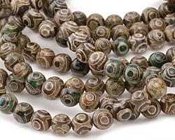 Tibetan (Dzi) Agate (dark green & brown) Round 8mm