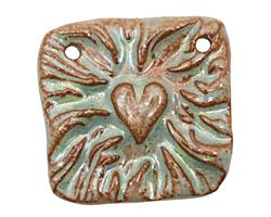Gaea Ceramic Robin Egg Flames of Love Link 32mm