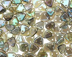 CzechMates Glass Aquamarine Celsian 2-Hole Triangle 6mm