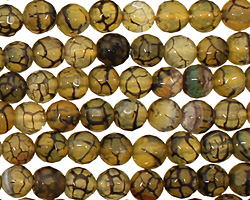 Olive Fire Agate Faceted Round 6mm