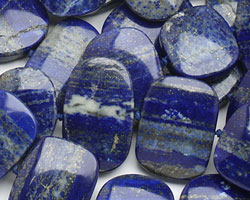 Lapis Flat Freeform Oval (side drilled) 20-23x25-32mm