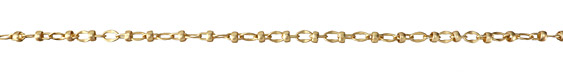 Satin Hamilton Gold (Plated) Hammered Oval w/ Bead Cable Chain
