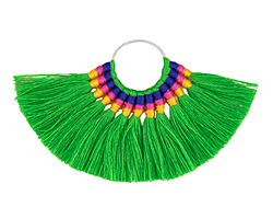 Zola Elements Tropical Paradise Fanned Tassel on Ring w/ Silver Finish 89x50mm