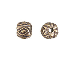 Greek Antique Brass (plated) Diamond Pattern Bead 10x12mm