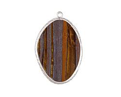 Tiger Iron Freeform Thin Slice w/ Silver Finish Bezel Frame Pendant 25x35mm