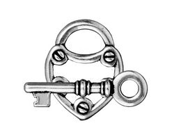 TierraCast Antique Silver (plated) Lock & Key Toggle Clasp 19x24mm, 30mm