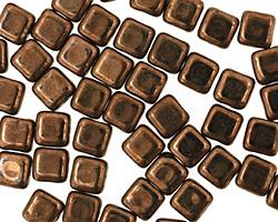 Czech Glass Dark Bronze Square 6mm