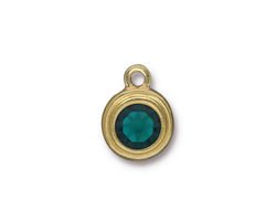 TierraCast Gold (plated) Stepped Bezel Drop w/ Emerald Crystal 12x17mm