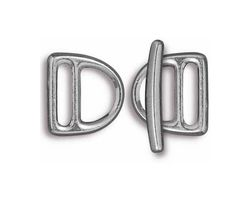 TierraCast Antique Pewter (plated) 10mm Slotted D Ring Clasp Set 14x15mm, 21mm bar