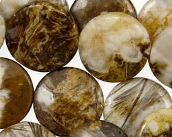Brioche Agate Puff Coin 18mm