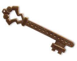 Vintaj Natural Brass Gate Key w/ Hole 15x57mm