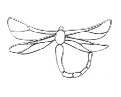 Amoracast Sterling Silver Dragonfly Outline 46x22mm