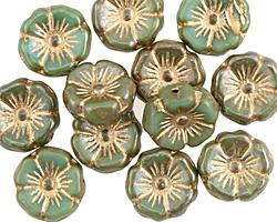 Czech Glass Green Tea w/ Gold Hibiscus Coin 12mm