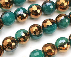 Metallic Gold Emerald Agate Faceted Round 10mm