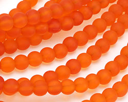 Tangerine Recycled Glass Round 8mm