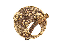 Saki Bronze Floral Toggle Clasp 34mm, 35mm bar