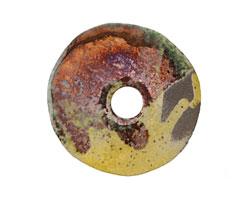 Greek Ceramic Raku Metallic Harvest Large Spacer Disc 30mm