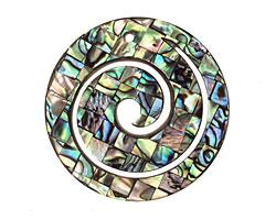 Abalone Spiral Pendant 40mm