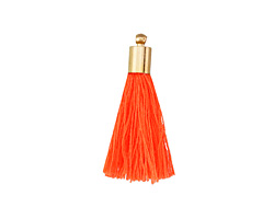Neon Orange Thread Tassel w/ Gold (plated) Tassel Cap 30mm