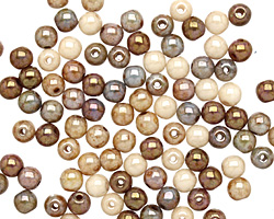 Czech Glass Opaque Luster Brown Mix Round 4mm