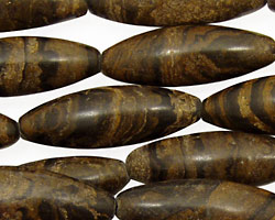 Black Turtle Shell Jasper Rice 30x10mm