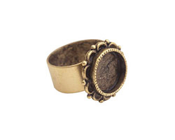 Nunn Design Antique Gold (plated) Small Ornate Circle Bezel Adjustable Ring 20mm