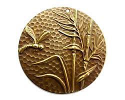 Vintaj Natural Brass Dragonfly Reed Pendant 42mm